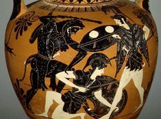 Tampa 82.11.1, Attic black figure neck amphora, c. 510-500 B.C. Hercules battles the Amazons. The Amazon has fallen to one knee, supported by the shield on her left arm. A wrapped object at her waist may represent the prized belt. Collection of the J. Paul Getty Museum, Malibu, California