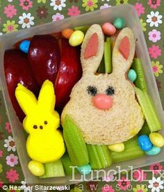 Easter again?  Another bento lunch box.  Bunny rabbit sandwiches.  How cute are they?