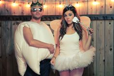 tooth and tooth fairy costume DIY - Halloween DIY Couple and Partner Costume - Fitness and Festivals Costume Halloween, Couples Halloween, Diy Couples Costumes, Homemade Halloween Costumes, Cute Costumes, Halloween Crafts, Happy Halloween, Costume Ideas, Funny Halloween