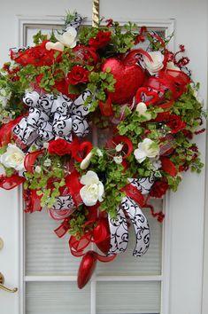 black and white ribbon.Deco Mesh Valentine Wreath