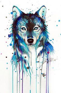Wolf Kunst Verlaufende Farben ~Jazz