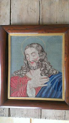 Antique Victorian Berlin Woolwork Jesus Wool & Silk Large Tapestry Religious