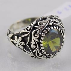 Turkish Ottoman Jewelry Handmade 925 Sterling Silver Peridot Statement Men Ring