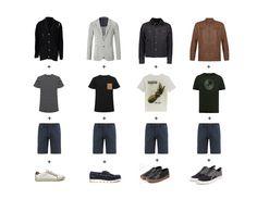 Quatro combinações de roupas masculinas usando bermuda.