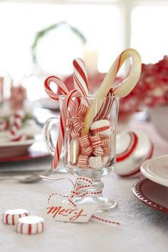 "Love this Peppermint Christmas Tablescape! Have a ""Candy Cane Christmas"" ! Noel Christmas, Christmas Candy, Simple Christmas, White Christmas, Xmas, Christmas Ideas, Cottage Christmas, Holiday Candy, Country Christmas"