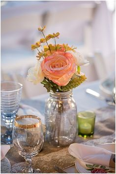 ball jar and rose wedding decor // photo by Life's Highlights