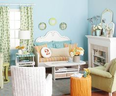 Blue…Relaxing and calming, this is the ultimate color for a room where you want a respite from the world. Remember there are many different shades of blue, however… and they all have a different feel. Find the one that speaks to what you want to feel!
