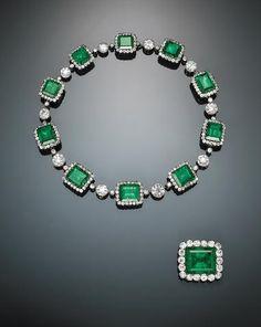 An impressive 19th century emerald, diamond and