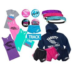Jump, vault, throw! This set is for the track enthusiast in your life. Many of these items can be customizable. Go to www.activewearapparel.com and look up all the running gear!