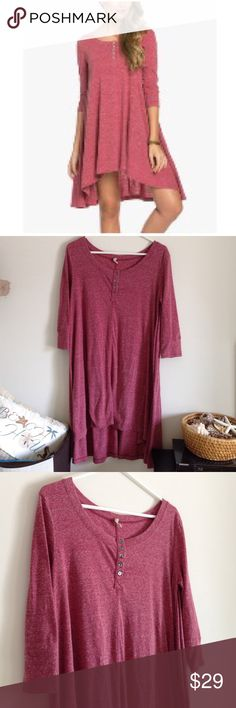 "Short Sale Burgundy High-Low Shift Dress Marbled burgundy dress with 5 buttons in front. 3/4 sleeves. Worn once - no stains or holes. 65% cotton and 35% spandex. Stretchy dress. Measurement laying flat: bust: 19"" length: 32/37"" (29) Wishlist Dresses High Low"