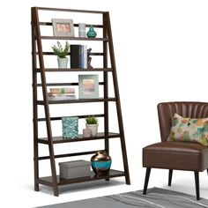 Acadian 5-Shelf Wide Bookcase in Tobacco Brown