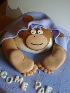 Monkey Baby Rump Baby Shower Cake