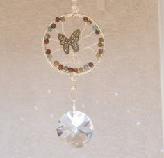 Picasso Jasper Tree of life crystal suncatcher with Butterfly, Large crystal, Feng Shui cures, balance, window ornament, Free shipping. $36.00, via Etsy.