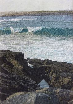 Inspired by the breathtaking landscapes of Shetland, Shona Skinner creates beautiful free-machine embroidery using a wide variety of textiles. Beach Ocean Art, Thread Painting, Painting, Fabric Art, Mixed Media Art, Art, Ocean Art