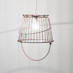 Vintage wire basket swag lamp / industrial ceiling light. $95.00, via Etsy.