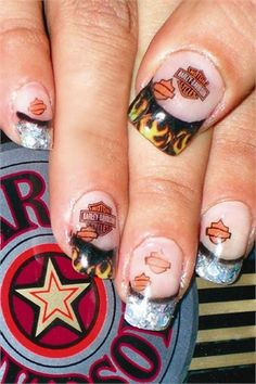 I would never do the Harley Davidson designs on my nails just because I do not own one and don't wanna be labeled a poser. But I love the flame design on the tips; Hahha some boneyard nails Nail Designs 2015, Gel Designs, Cute Nail Designs, Hot Nails, Hair And Nails, Nail Art Original, Harley Davidson Gear, Clear Nails, Pretty Designs