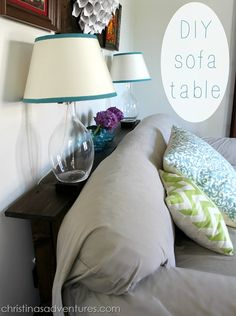 DIY Sofa Table - looks easy enough - but maybe just do brackets on the wall to support a cool chunk of salvaged wood?