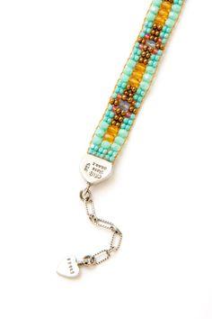 Golden Turquoise Cross Bracelet - Bracelets - Shop Jewelry   Peyote Bird Designs