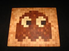 Pac-Man End-Grain Cutting Board - Blinky