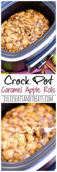 Crock Pot Caramel Apple Rolls Recipe ~ Start with Store Bought Caramel Rolls in the Crock Pot with Apples and Smothered in Caramel Sauce!