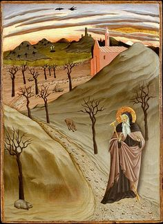 с.1430-35.Master of the Osservanza Triptych or Sano di Pietro(1405-81) Saint Anthony Abbot Tempted by a Heap of Gold.tempera on wood. Metropolitan Museum of Art.