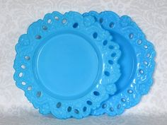 Vintage Turquoise Milk Glass Tea or Biscuit Plates / Blue Milk Glass Angels Cherubs Lace Cake Plates / Antique Putti Angel Cake Plates