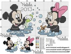 Mickey and Minnie Mouse Cross Stitch Bookmarks, Cross Stitch Baby, Cross Stitch Kits, Disney Stitch, Disney Diy, Baby Disney, Pinterest Cross Stitch, Disney Cross Stitch Patterns, Disney Images