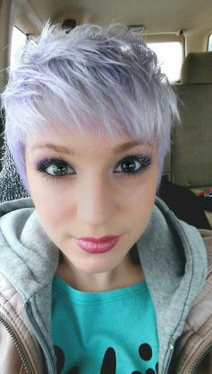 Lilac hair pastel pixie hair, pixie hair color, hair color and Short Lilac Hair, Pastel Pixie Hair, Grey Pixie Hair, Lilac Grey Hair, Silver Lavender Hair, Pixie Hair Color, Silver Grey Hair, Hair Color Purple, Hair Color And Cut