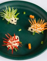 Hedgehog or Porcupine - carrots, celery - any firm food, and olive bits for eyes
