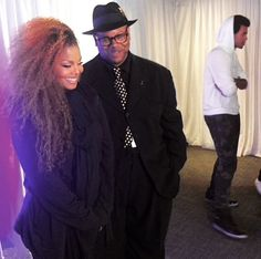 """Brand new #momyjan @janetjackson after the show backstage with #jimmyjam #unbreakable #Jtribe #janfam #JanetJackson #love #always ✌️✌"""