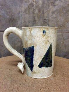 Blue Triangle Stoneware Mug with Cream Speckle Glaze by KatieTroisi on Etsy https://www.etsy.com/listing/261794118/blue-triangle-stoneware-mug-with-cream