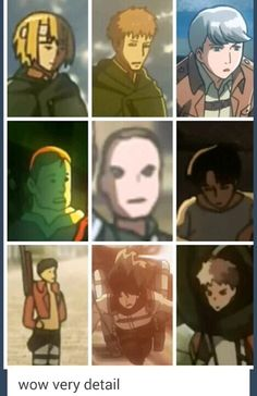 ((Yes, Attack on Titan is very good at art when it comes to the details for background characters.))