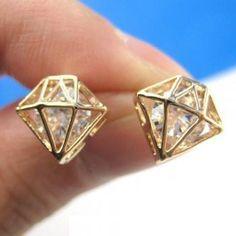[gryxh3300450]diamond shaped Earrings/Ear Ring/Stud