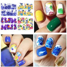 1 sheet Colored Floral Flower Patterns Nail Water Decals Transfer Stickers