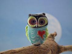 Made lampwork owl bead sra by DeniseAnnette on Etsy, $15.00