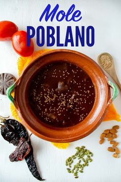 This Mole Poblano recipe from Mexico makes it easy to recreate this amazing sauce in your home. It will show you how to make mole step-by-step! Vegan Mexican Recipes, Mexican Cooking, Vegan Dinner Recipes, Delicious Vegan Recipes, Cooking Recipes, Mole Poblano Recipe, Mole Recipe, Mexican Mole, Mole Sauce