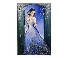 Before the ball - Original acrylic painting on canvas, gift for her, signed art, portrait of a woman, beauty on a ball, prom, dance