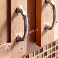 Use the Door Rail as a Guide - How to Install Cabinet Hardware: http://www.familyhandyman.com/kitchen/diy-kitchen-cabinets/how-to-install-cabinet-hardware