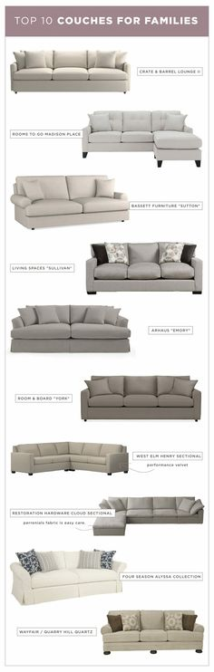 Most Recommended Couches for Families // The couches that are easy to clean, the most comfortable and will last years for your family! Clean Sofa Fabric, Fabric Sofa, Diy Barbie Furniture, Diy Furniture, Living Room Decor Inspiration, Interior Inspiration, Design Inspiration, Diy Couch, Living Room Furniture