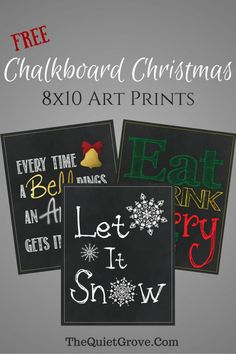 Free 8x10 Chalkboard Christmas Art Prints