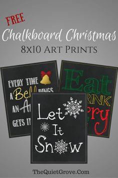 Free 8x10 Chalkboard Christmas Art Prints