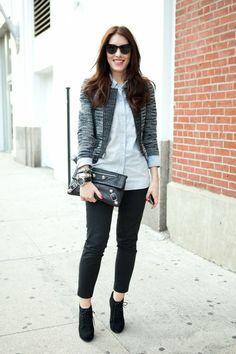 Gray blazer with black.
