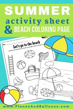 Fun free printable beach coloring page and summer worksheets to practice reasoning skills during summer. Summer Coloring Sheets, Beach Coloring Pages, Preschool Coloring Pages, Colouring Sheets, Free Coloring, Beach Theme Preschool, Summer Preschool Activities, Beach Activities, Class Activities
