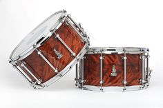 "A pair of rare! 14 x 8 BRADY Jarrah Ply snare drums (Limited Edition ""Walkabout Series"" Karijini gloss finish). Only two ever made."