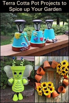 Take on this fun and easy DIY project using terra cotta pots and use them to add beauty and charm to your garden. Crafts Terra cotta pot projects to spice up your garden Clay Pot Projects, Clay Pot Crafts, Diy Garden Projects, Garden Crafts, Project Projects, Shell Crafts, Flower Pot Art, Clay Flower Pots, Flower Pot Crafts
