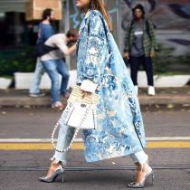 Floral Pattern Printed Long Sleeve Coat - ootdmw.com Cool Outfits, Fashion Outfits, Fashion Ideas, Fashion Coat, Stylish Outfits, Jackets Fashion, Womens Fashion, Fashion Blogs, Pop Fashion