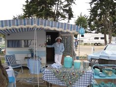 This comes from cowgirl camper and it is all women and their trailer. Got to visit it. Tiny Trailers, Vintage Campers Trailers, Vintage Caravans, Camper Trailers, Retro Campers, Happy Campers, Vans Vintage, Vintage Rv, Vintage Style