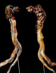 """DIE WÄCHTER"" - 2016 Wurzelholz mit Zinn und Kupfer 100 x 40 cm #art #kunstwerk #skulptur #zinn #wurzel #schwemmholz #Treibholz #Metall #Zinn #Wurzl #Lugsteiner Harald #h.luggi #Unikat #Steampunk Zinn, Steampunk, Walnut Burl, Driftwood, Copper, Artworks, Stainless Steel, Stones, Metal"