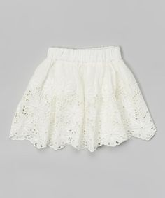 Look at this White Floral Lace Skirt - Toddler & Girls on #zulily today!