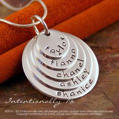 Hand Stamped Mommy Necklace - Personalized Layered Sterling Silver Jewelry - Family Stack of Five Petite
